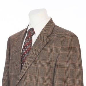Jos A Bank Brown Black Red Glen Plaid Sport Coat